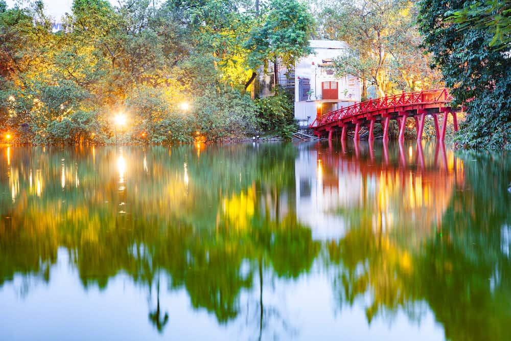 HANOI, VIETNAM - iconic red bridge in Hanoi, Vietnam