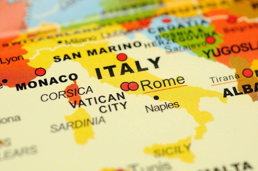 Close up of Rome Italy on map