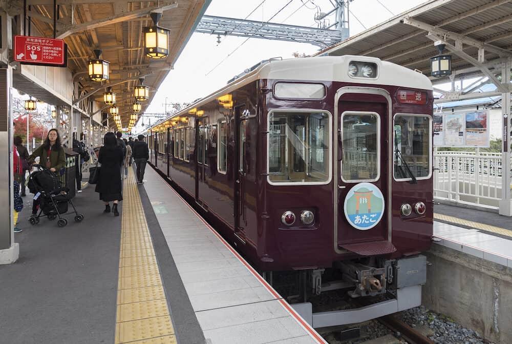 Arashiyama, Japan - Hankyu Railway, train stop of Hankyu Arashiyama Station in Arashiyama, Kyoto, Japan.