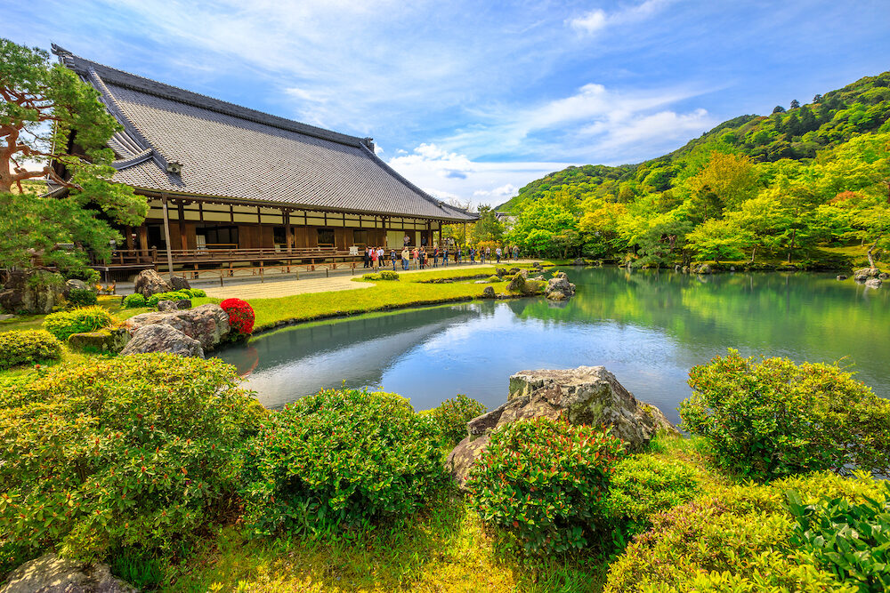 Kyoto, Japan - Hojo Hall and picturesque Sogen Garden or Sogenchi Teien with a circular promenade centered around Sogen-chi Pond in Tenryu-ji Zen Temple in Arashiyama. Springtime.