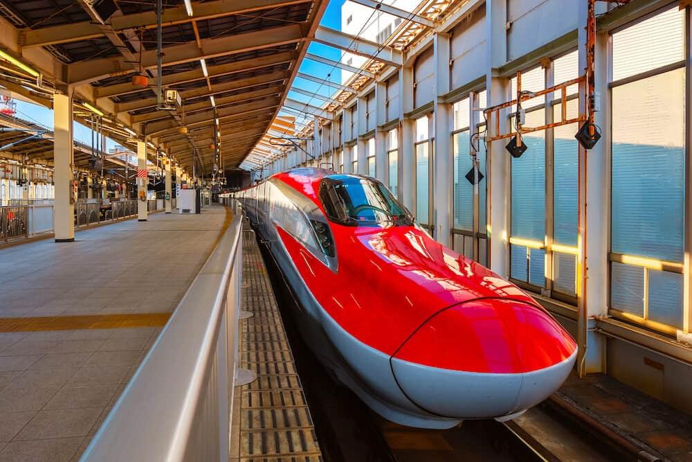 Sendai, Japan - Japanese Shinkansen high speed train Komachi travel up north east of Japan from Tokyo to Tohoku region