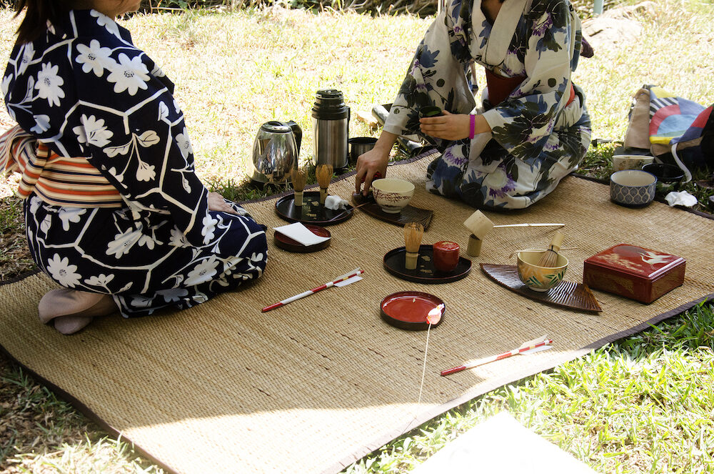 Japanese women making sado chanoyu or Japanese tea ceremony also called the Way of tea at outdoor on January 29 2017 in Nakhon Ratchasima Thailand