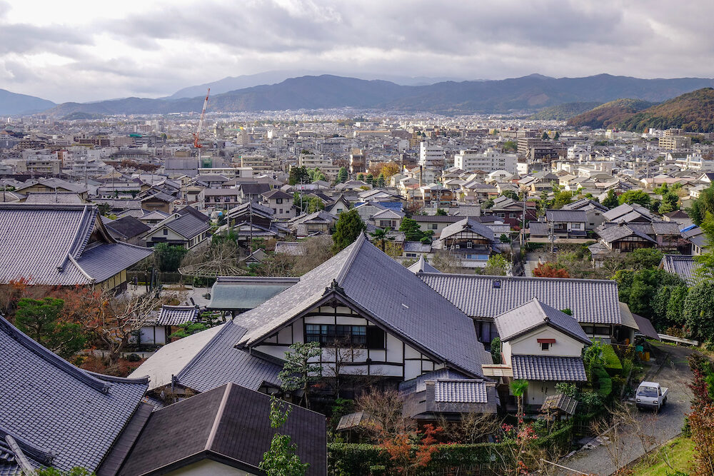 Kyoto, Japan - Aerial view of Kyoto, Japan. Kyoto contains roughly 2,000 temples and shrines.