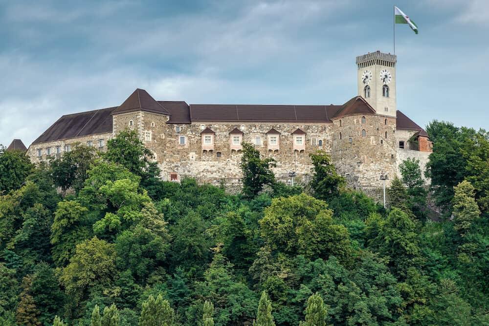 Ljubljana Castle standing on the Castle Hill above downtown Ljubljana, Slovenia is a key landmark of the town.