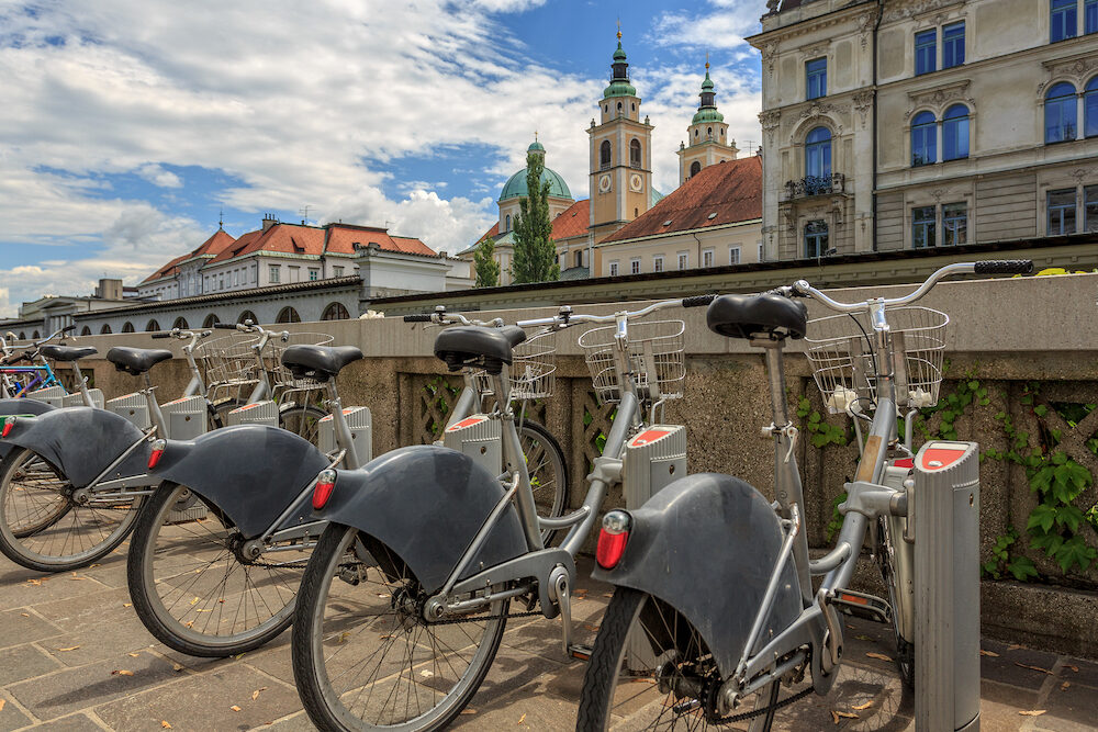 Ljubljana architecture and tourist bikes, capital city of Slovenia