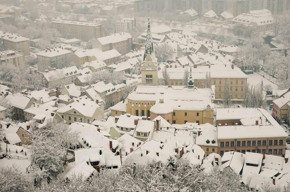Winter Snowstorm - Ljubljana City - Slovenia