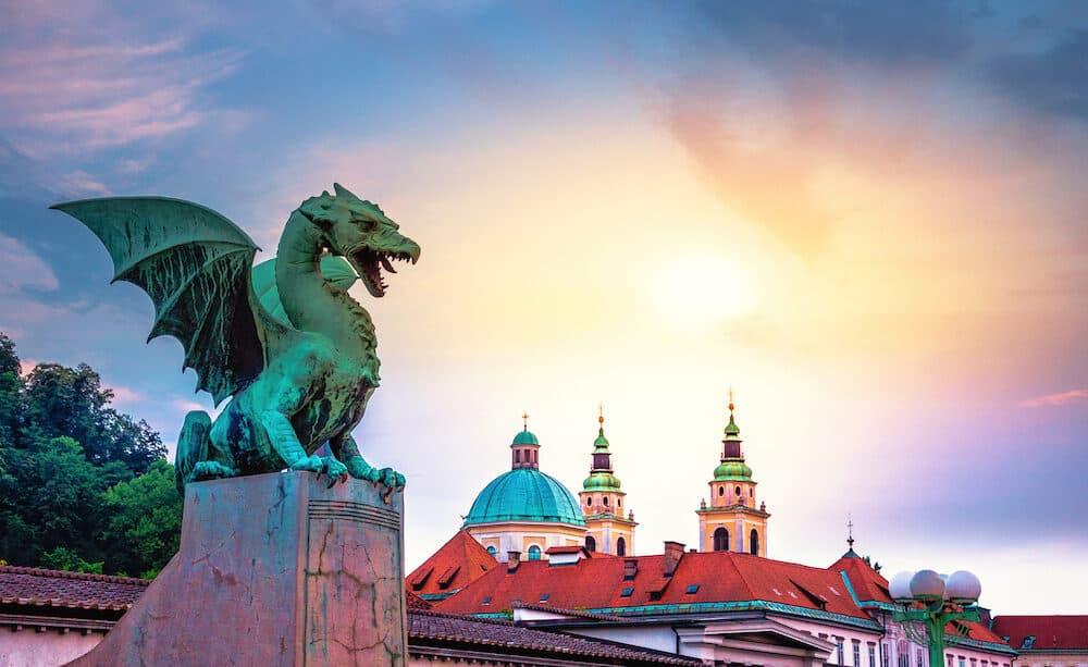 Famous Dragon bridge (Zmajski most), symbol of Ljubljana, capital of Slovenia, Europe.