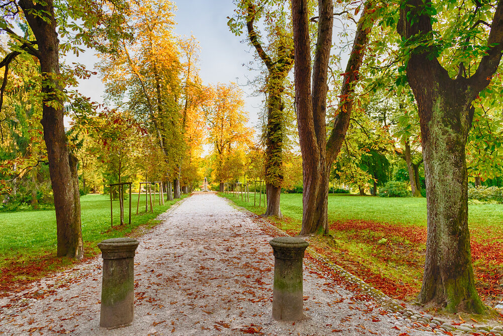Picturesque autumn landscape. Beautiful Park in the fall. City Park Tivoli is a popular vacation spot in the center of Ljubljana, Slovenia.