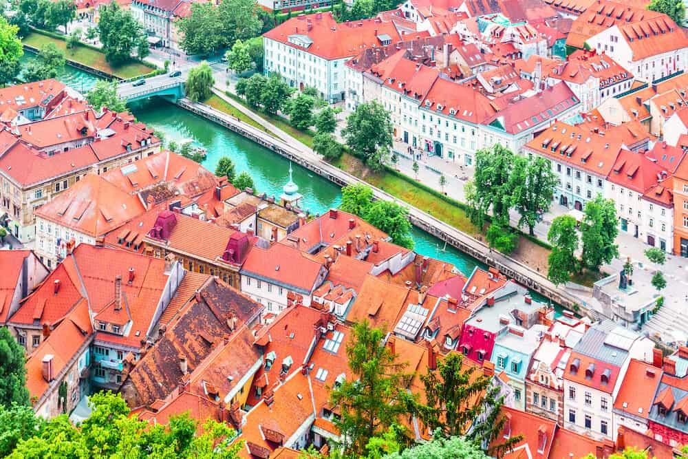 view of city Ljubljana from Ljubljana castle - Slovenia