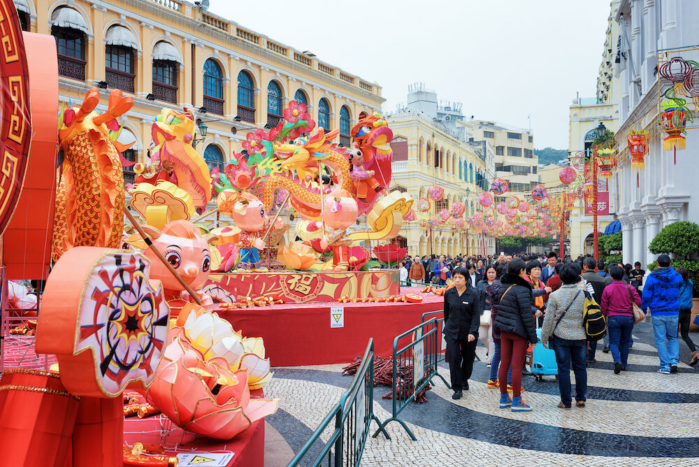 MACAU - The Senado Square in the historic centre of Macau decorated for the Chinese New Year for the Spring Festival. Macau is a popular tourist attraction of Asia in the holidays.