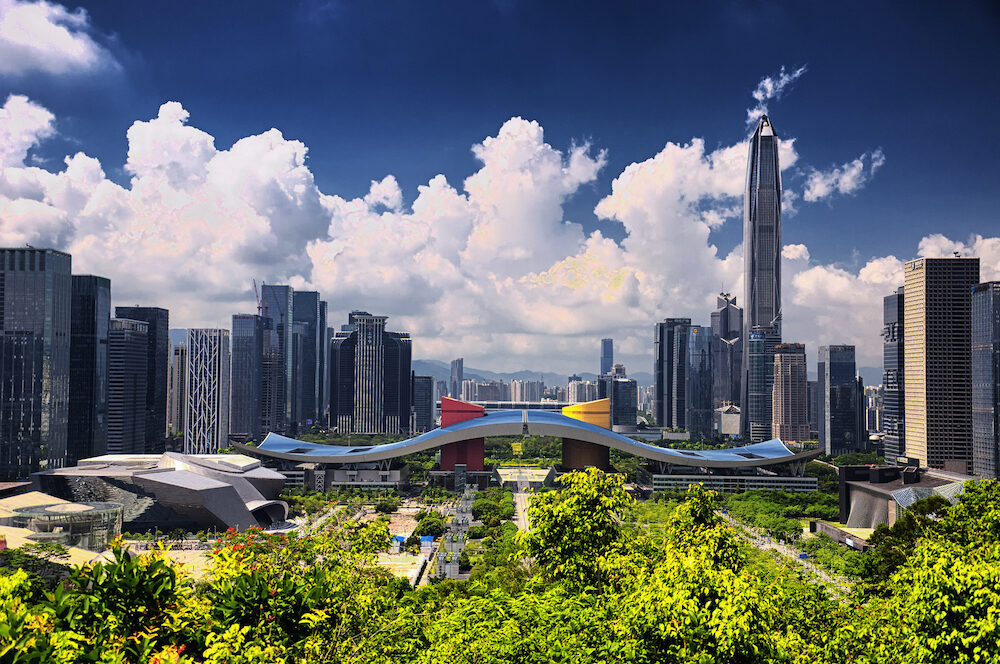 Shenzhen, China. the shenzhen city skyline and civic center as seen from Lianhuashan Park in the city center on a sunny day.