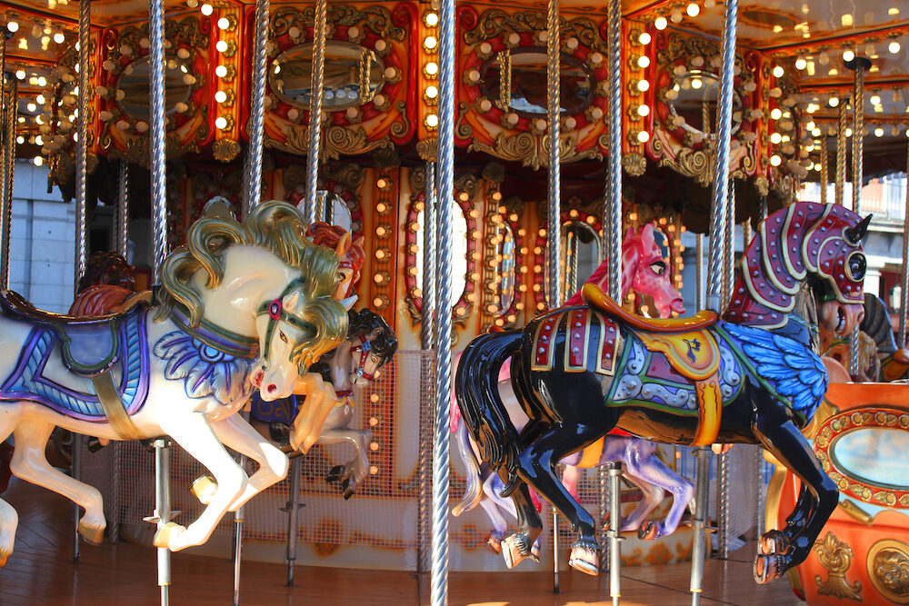 Old fashioned carousel horses in Madrid, Spain