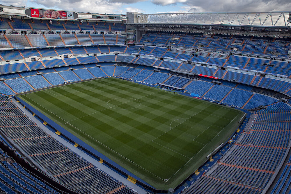 MADRID, SPAIN - facade principal of Santiago Bernabeu Stadium is the current home stadium of Real Madrid FC