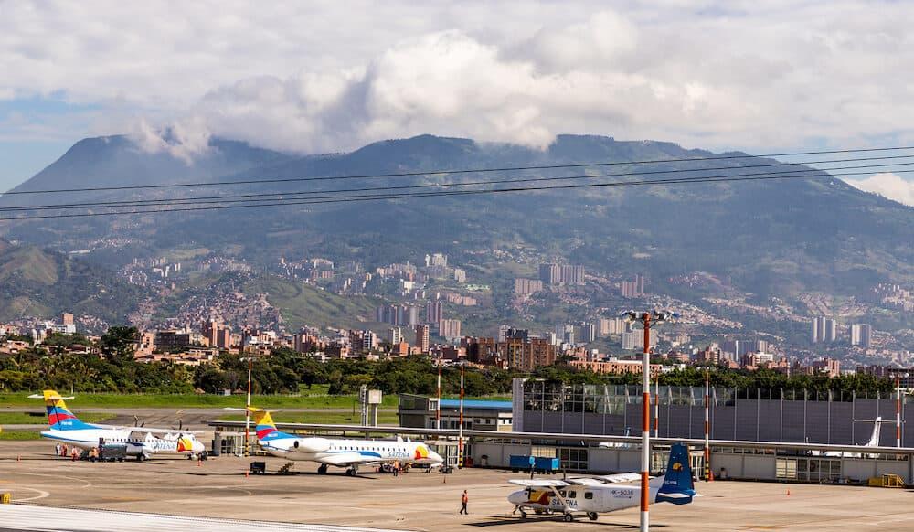 Medellin Colombia. . A view of Enrique Herrera Olaya Regional airport in Medellin Colombia