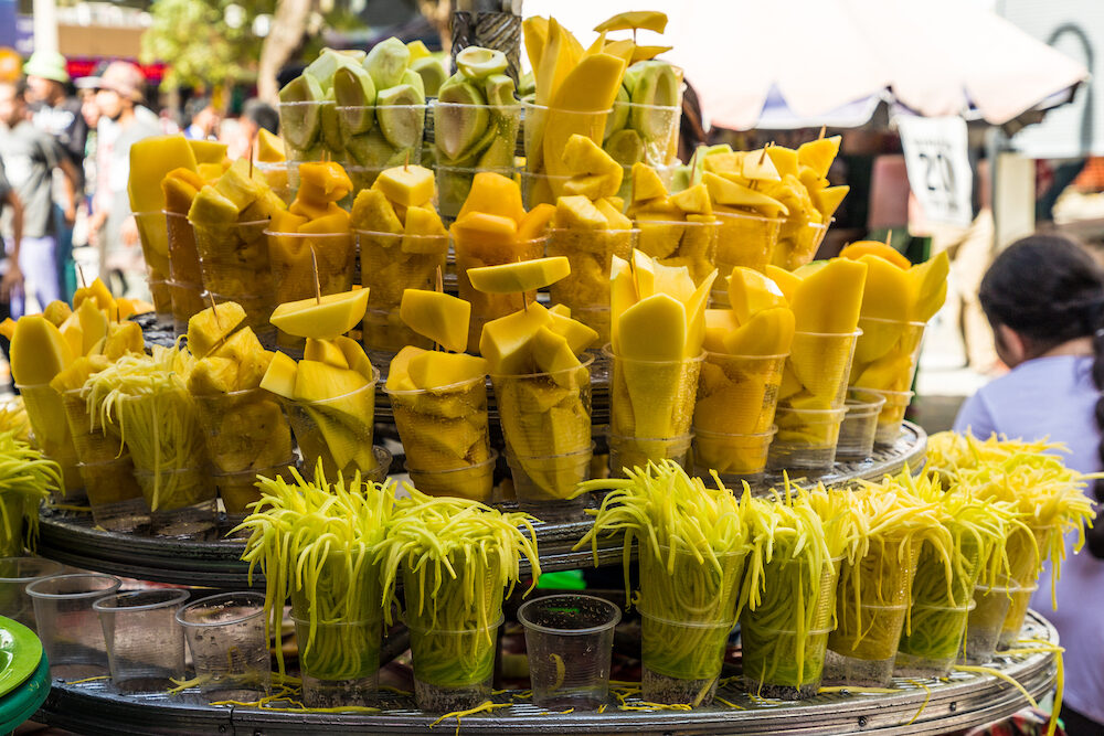 Medellin, Colombia. A view of cut fruit being sold in a street stall in Medellin Colombia