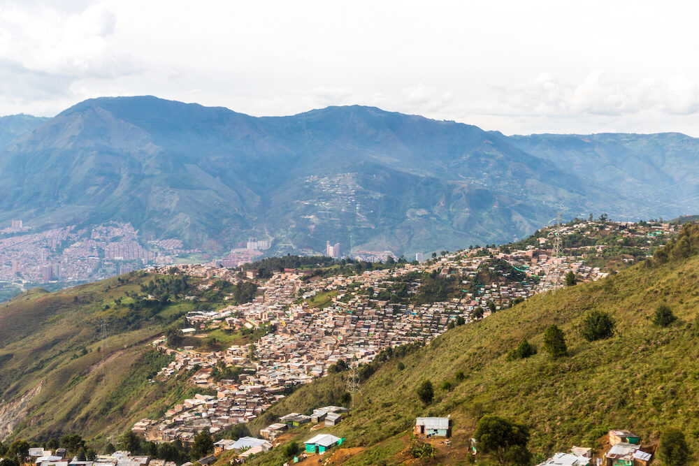 Medellin, Colombia. A view of the crowded city from high up over Medellin Colombia.
