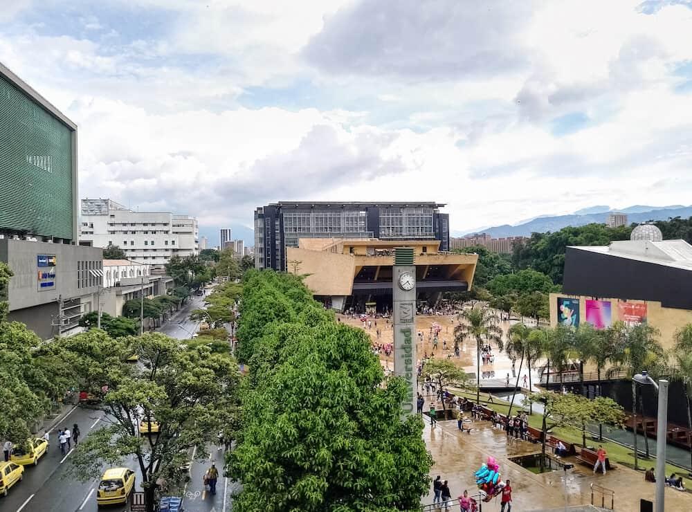 Medellin, Antioquia, Colombia -View of a public square in Medellin, Colombia. Parque de los Deseos, House of Music, Planetarium, Metro University Station and Bosque Plaza Shopping Mall.
