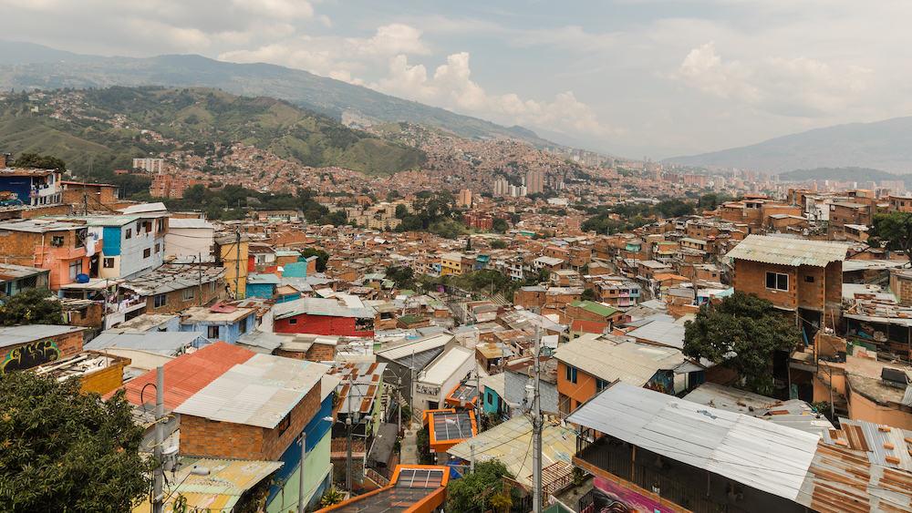 Comuna 13 Medellin Colombia -View over the district comuna 13 and the escalators