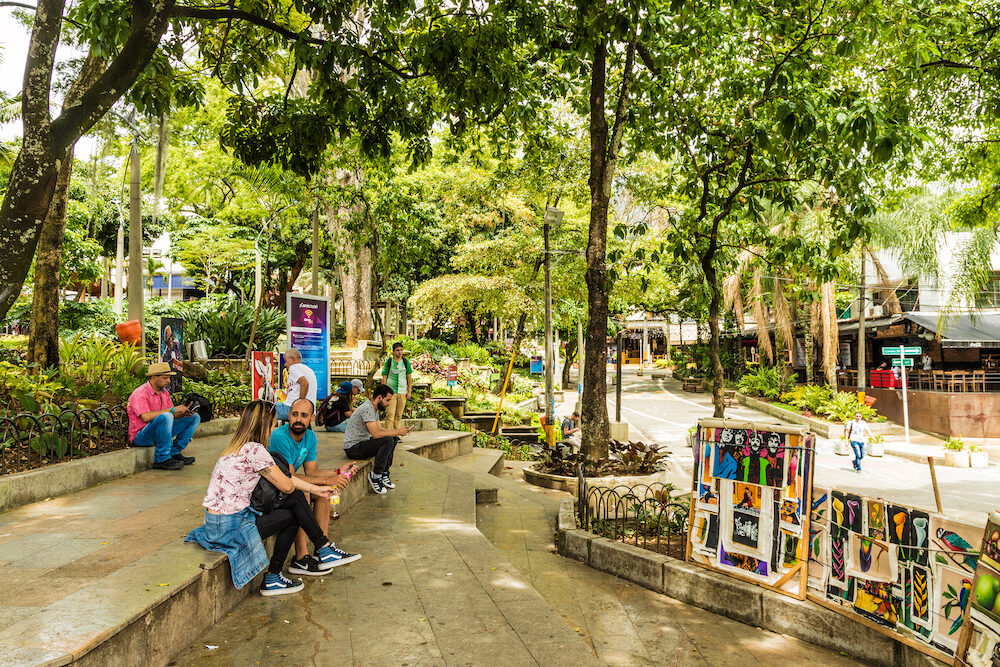 Medellin, Colombia. A view of a street art gallery in Lleras Park in Medellin Colombia