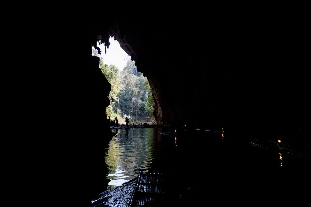 Beautiful Lod Cave in Soppong close to touristic Pai village full of rock. Tourist cave rafting on bamboo boats in south east Asia.