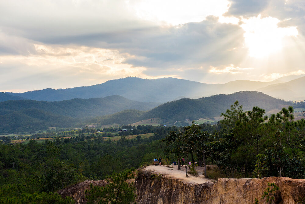 Pai Thailand - : Pai Canyon at Mae Hong Son Province. Picturesque observation point. Sunset
