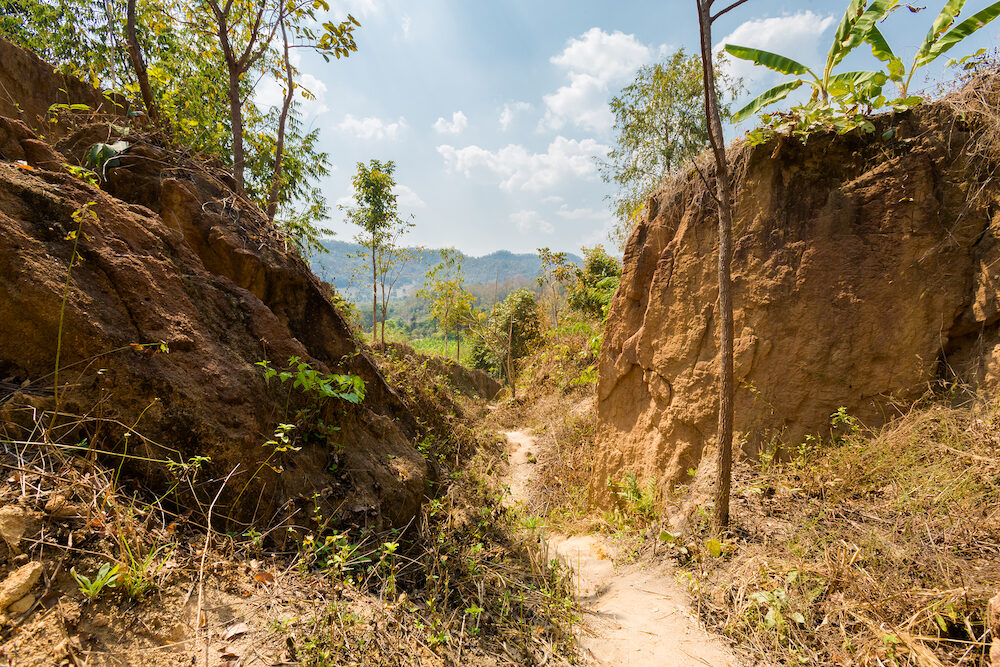 Ground split close to touristic Pai village i in north Thailand. Asian mountain landscape during summer.