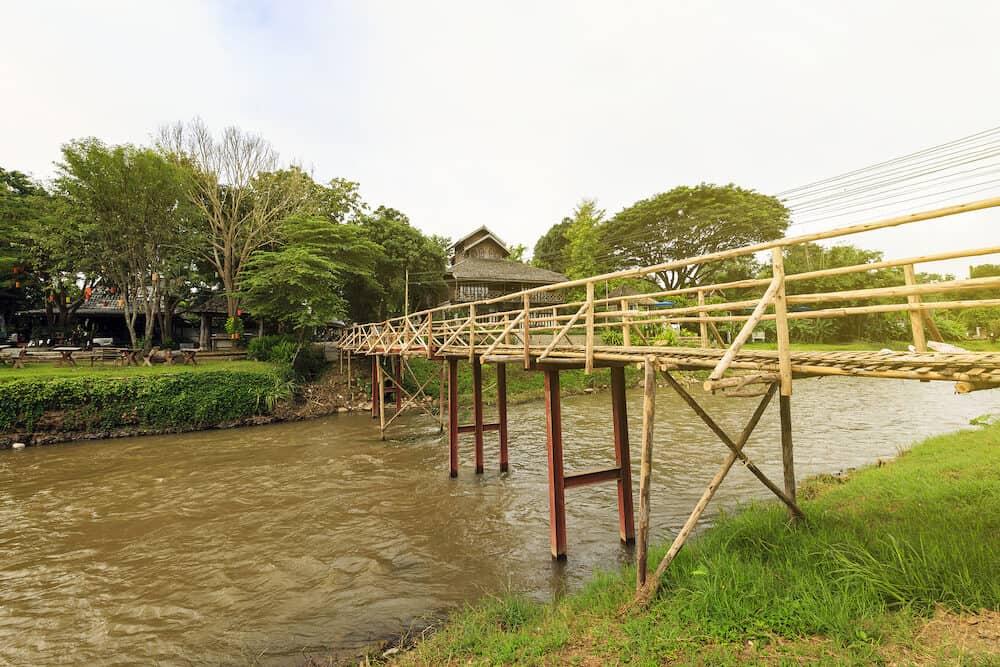 bamboo bridge at Pai Mae hong son Thailand