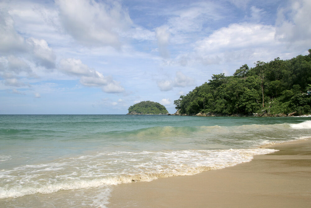 Kata beach and Koh Pu island known also as Crab Island, Phuket, Thailand