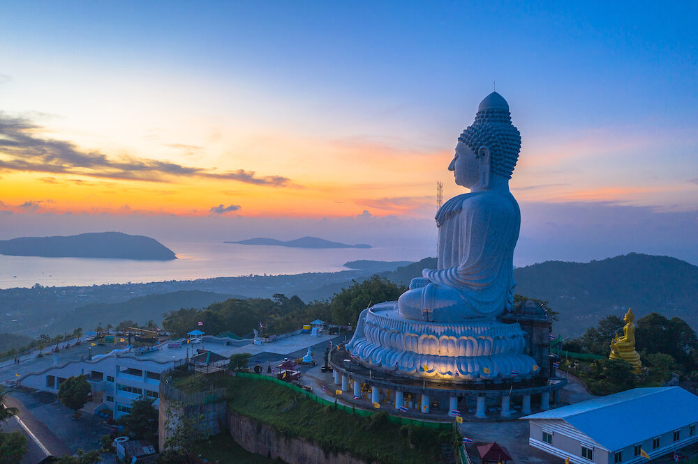 scenery aerial photography sunrise at Phuket big Buddha. Phuket Big Buddha is one of the island most important and revered landmarks on Phuket island.