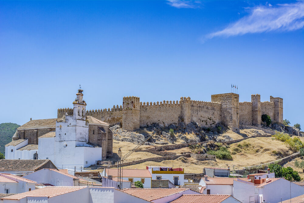 View of the Castle of Santa Olalla del Cala in the province of Huelva, Spain,