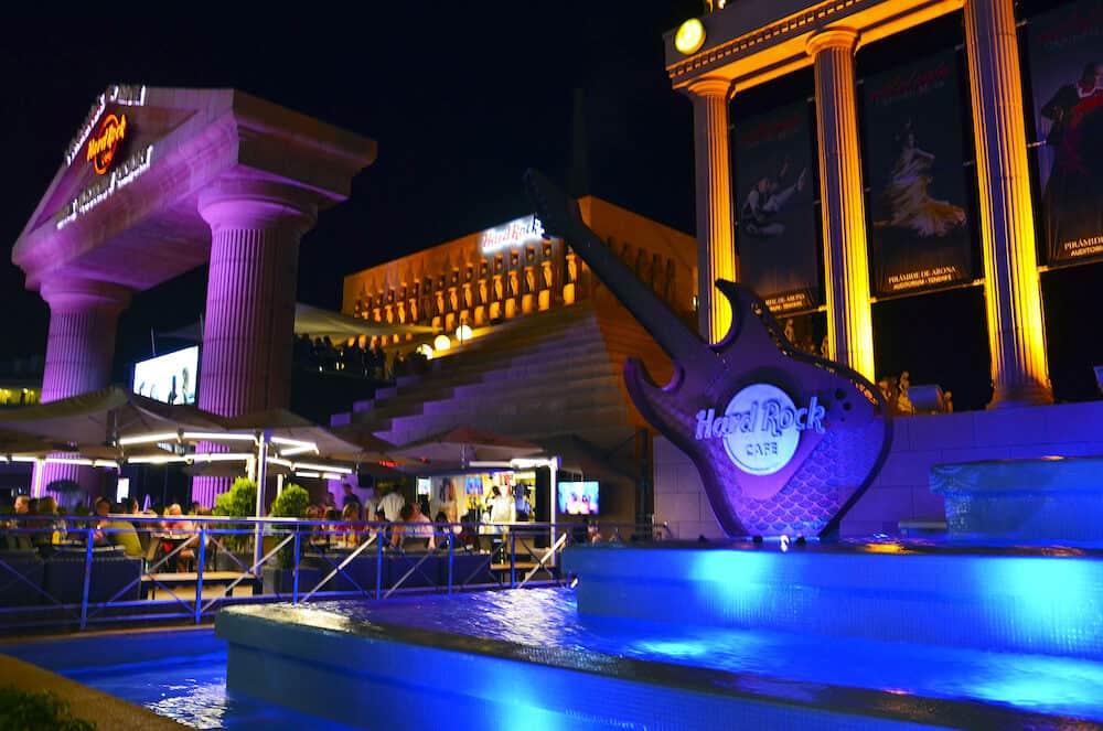 Playa De Las Americas,Tenerife,Canary Islands,Spain - :Hard Rock Cafe near Piramide de Arona resort at night.