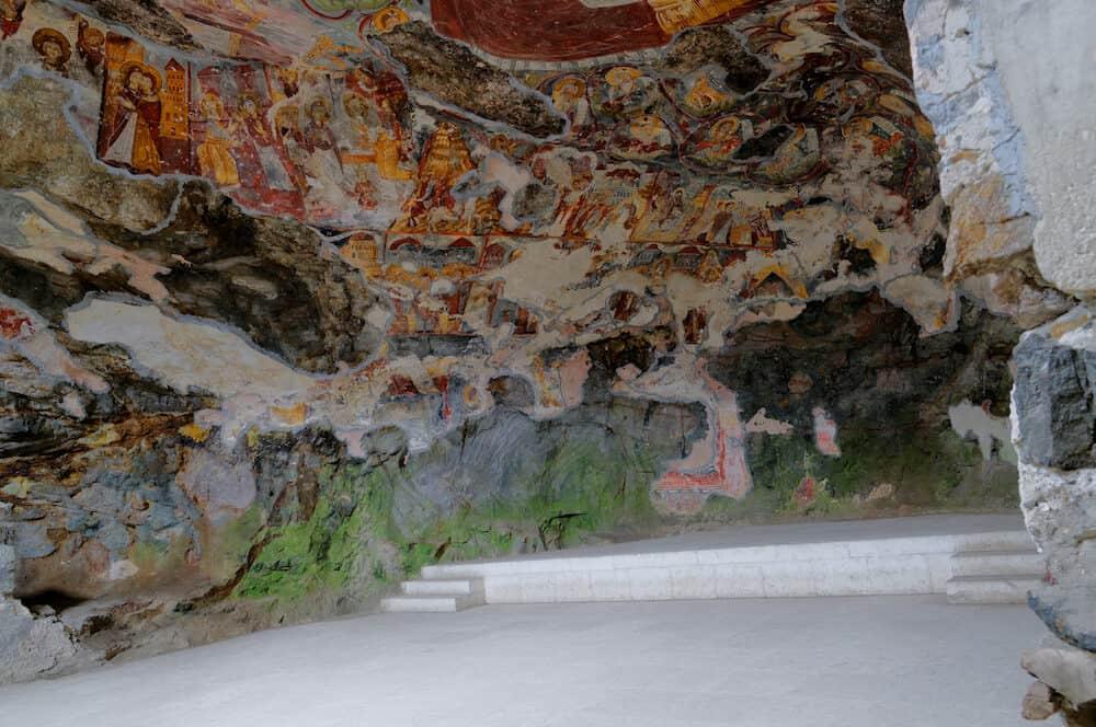SUMELA MONASTERY, TRABZON, TURKEY - Frescoes in the Rock Church of Sumela monastery. Frescoes date back to XVIII century