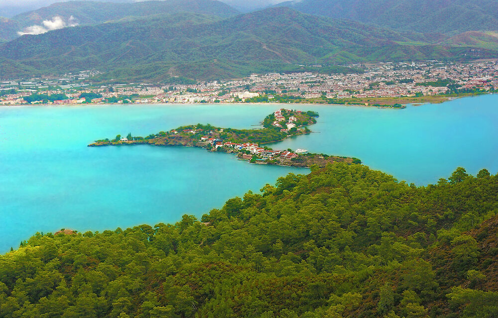 Peninsule in the bay marina of Fethiye resort, Turkey