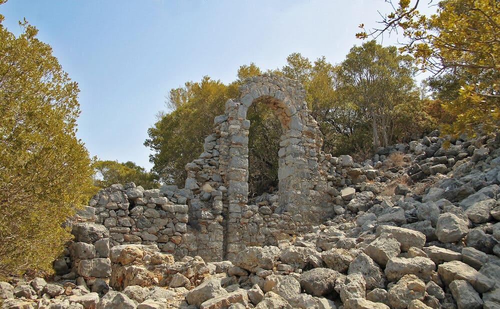 Ruins on the seashore of St. Nicholas island - Gemiler island, Turkey