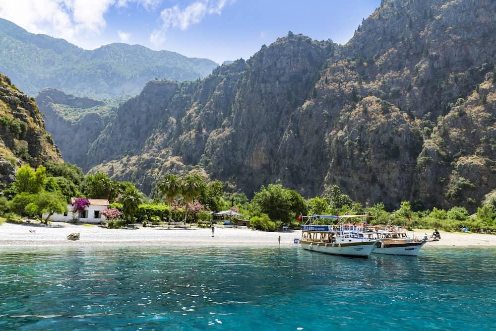 BUTTERFLY VALLEY BEACH TURKEY - : Tourists visit famous Butterfly Valley beach near Oludeniz in Turkey on JUNE 01 2016. Butterfly Valley beach is one of the best beaches in Turkey