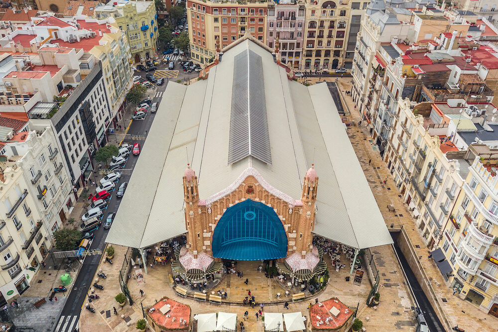 VALENCIA, SPAIN, Aerial view of Mercat de Colon in Valencia