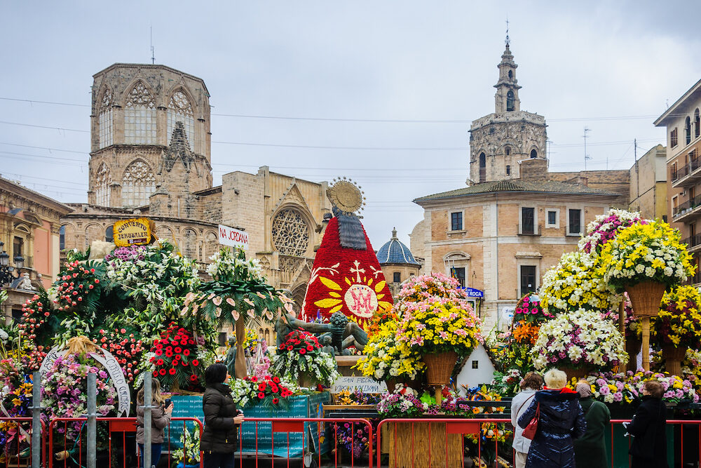 VALENCIA, SPAIN - Plaza de la Virgen with flowers during Las Fallas Festival in the city of Valencia Spain