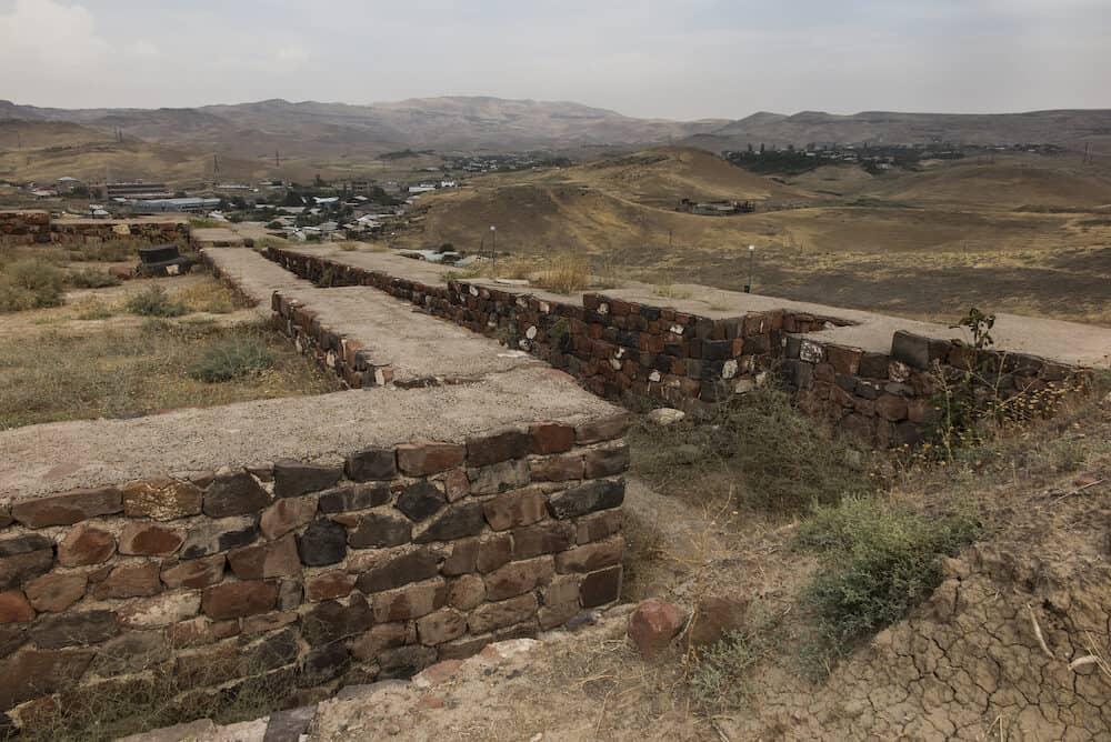 Fortress Erebuni in Yerevan on cloudy day. Armenia