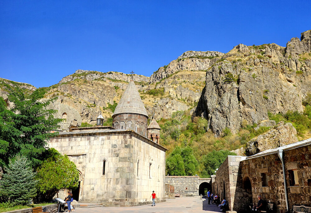 YEREVAN, ARMENIA - Geghard monastery is a medieval monastery in the Kotayk province of Armenia,