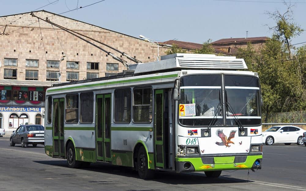 YEREVAN,ARMENIA - : Old trolleybus stands at the terminus in Yerevan, Armenia.