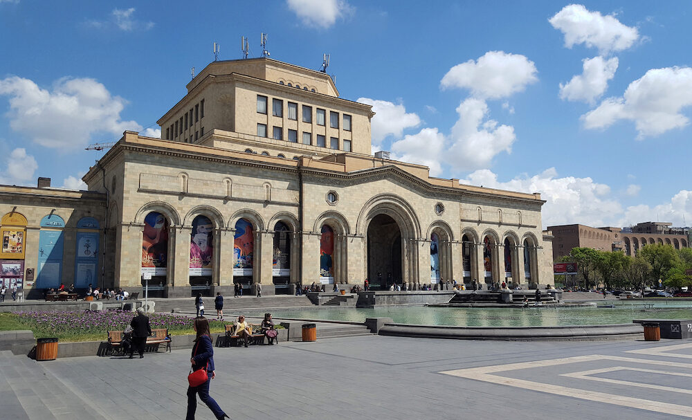 YEREVAN, ARMENIA -The History Museum and the National Gallery of Armenia located on Republic Square in Yerevan, Armenia.