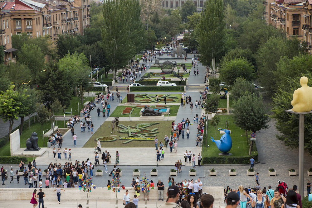 YEREVAN, ARMENIA - Yerevan Cascade and the giant stairway in Yerevan. Armenia. One of the most important sights in Yerevan, a place for walks and meetings of youth and adults