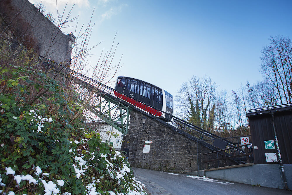 Salzburg, Austria - A funicular railway car in its way to Hohensalzburg Fortress.The Festungsbahn is a funicular railway providing access to Hohensalzburg Fortress.