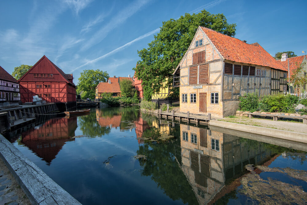 AARHUS, DENMARK - The Old Town in Aarhus. The Old Town is popular among tourists as it displays traditional Danish architecture from 16th century to 19th century.