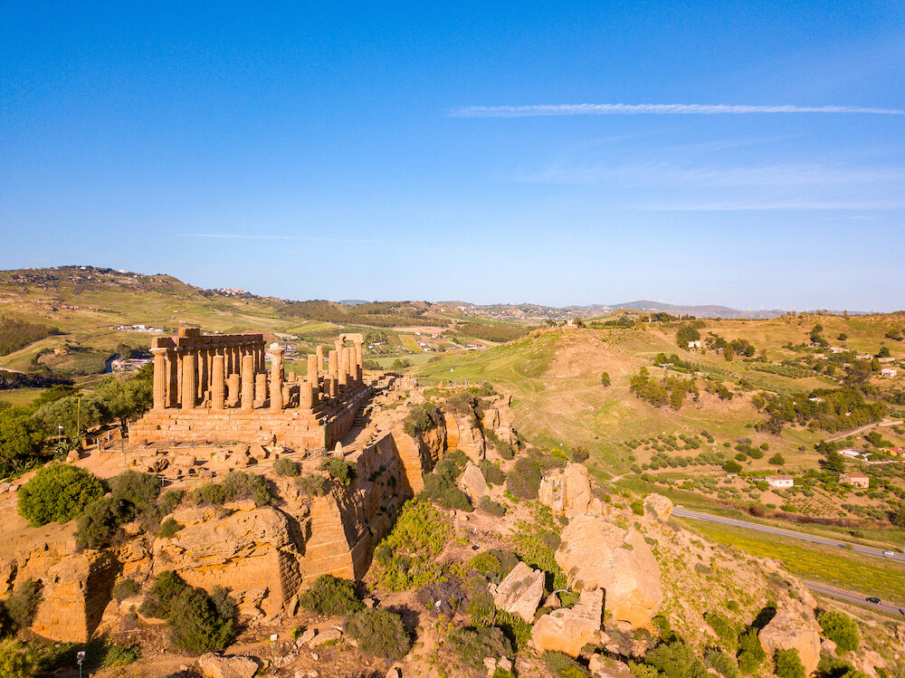 Aerial view of the famous Temple of Concordia in the Valley of Temples near Agrigento, Sicily