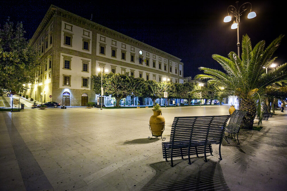 SCIACCA ITALY -Angelo Scandaliato Square in Sciacca Italy. Sciacca is known as the city of thermal baths since Greek