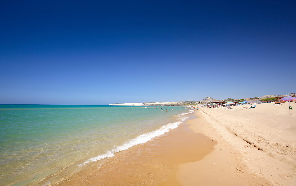 Long sandy beach between Eraclea Minoa and Torre Salsa Sicily Italy
