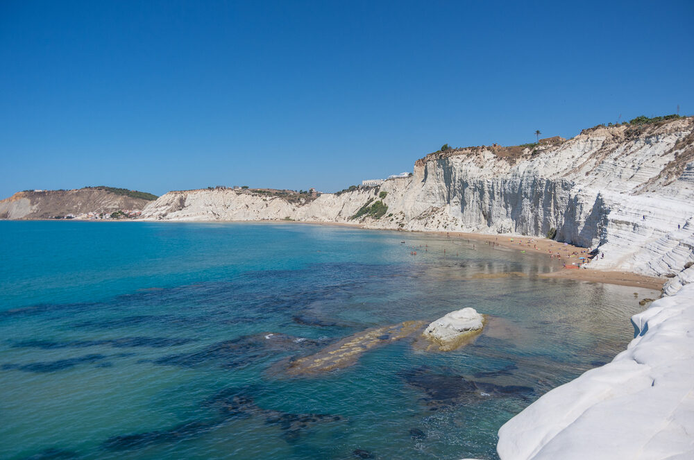 Panoramic view of the famous Scala dei Turchi cliff near Agrigento Sicily