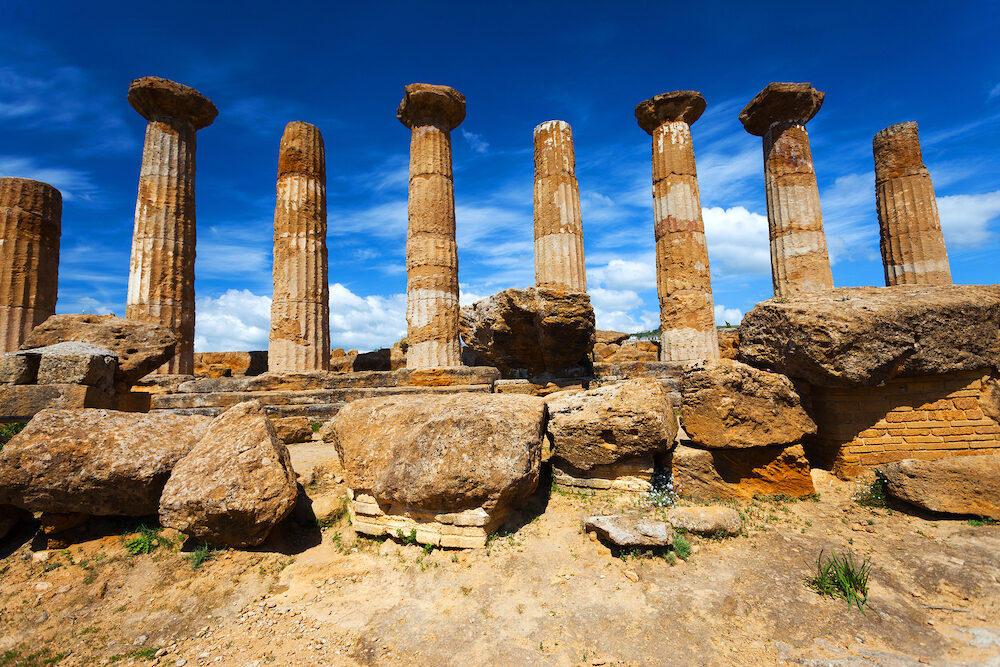 This image represent the columns of Hercules or Eracle Temple in Agrigento archaeological park. Sicily