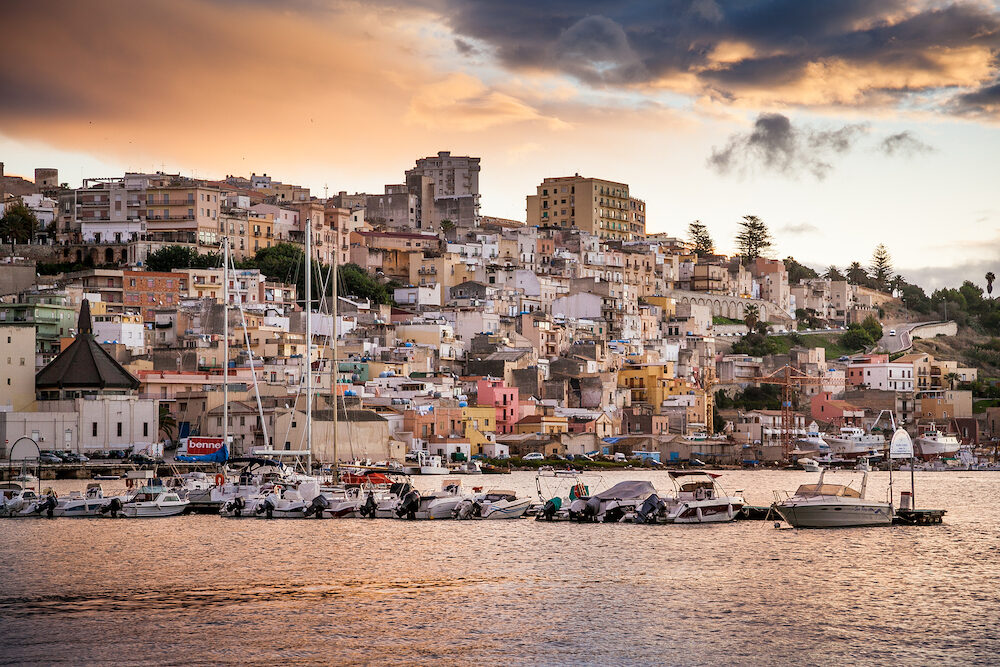 SCIACCA ITALY - panoramic view of coastline in Sciacca Italy. Sciacca is known as the city of thermal baths since Greek